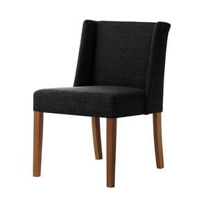 Čierna stolička s tmavohnedými nohami Ted Lapidus Maison Zeste