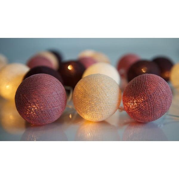 Svetelná reťaz Irislights Dusty Pink, 20 guľôčok