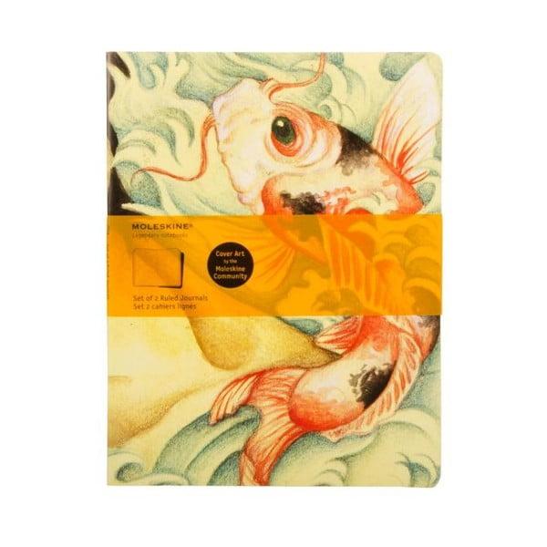 Sada 2 zošitov Moleskine Carp Fish, linajkový