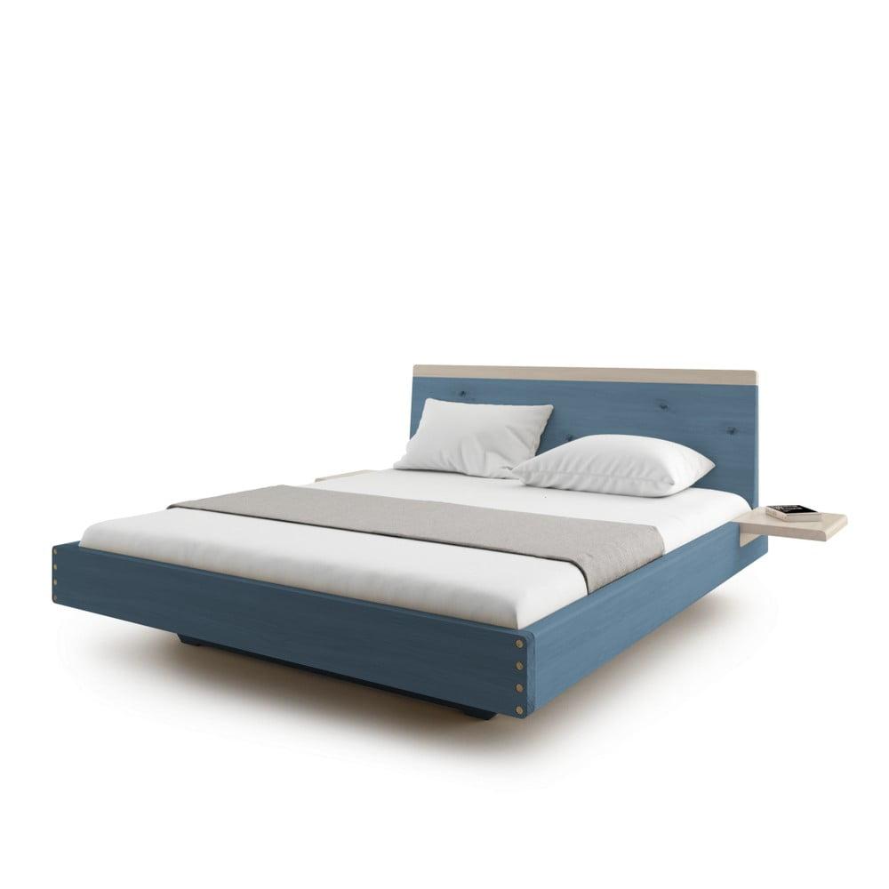 71b193c5e3 Modrá dvojlôžková posteľ z masívneho dubového dreva JELÍNEK Amanta