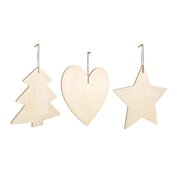 Set 3 ks vianočných dekorácií Bizzotto Basic