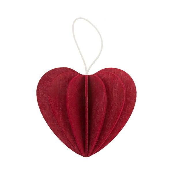Skladacia pohľadnica Heart Dark Red, 4.5 cm