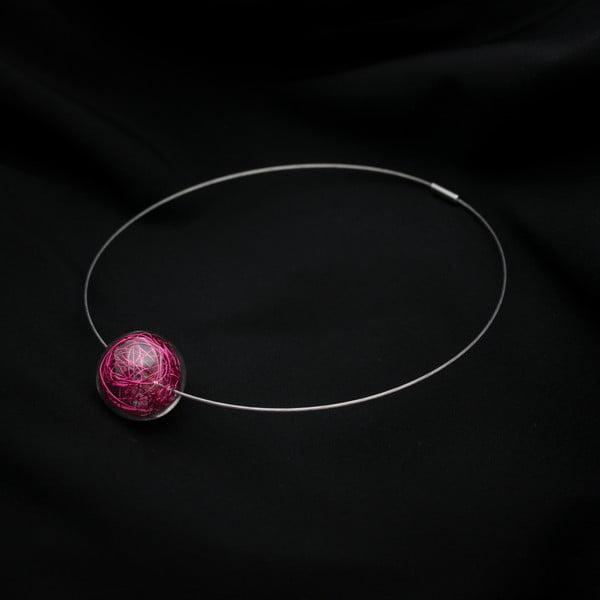 Sklenený náhrdelník ko-ra-le Wired, ružový
