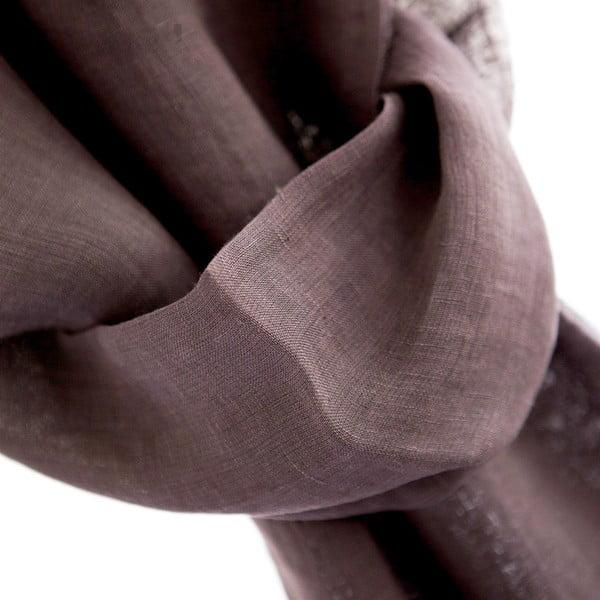 Ľanová šatka Luxor 65x200 cm, fialovohnedá