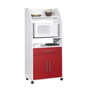Červeno-biely pojazdný kuchynský úložný systém s policami Symbiosis Jeanne