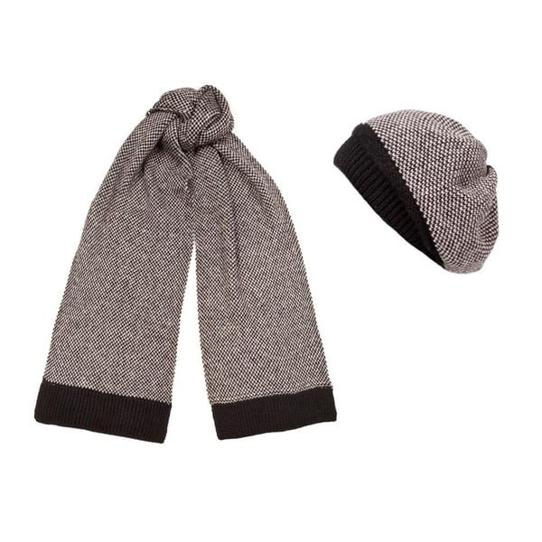 Hnedá čiapka a šál Lavaii Classic