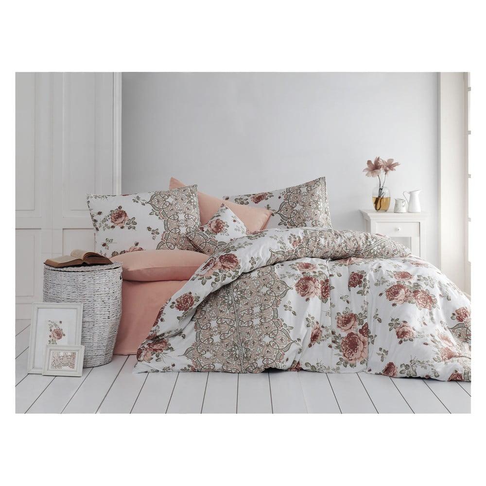 Bavlnené obliečky s plachtou na jednolôžko Flowers, 140 × 200 cm