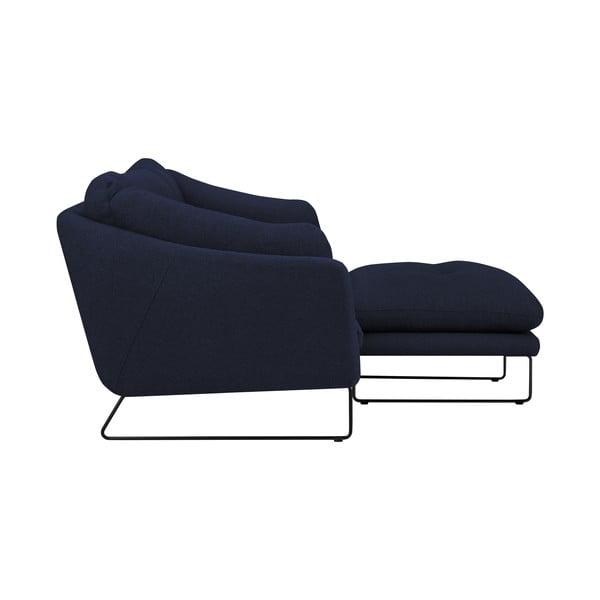 Set tmavomodrej trojmiestnej pohovky a sedacieho pufu Windsor & Co Sofas Comet