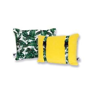 Žltý obojstranný plážový vankúš Origama Leaf