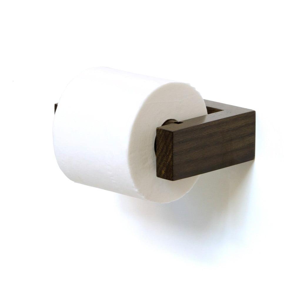 Nástenný držiak na toaletný papier z dubového dreva Wireworks Mezza Dark