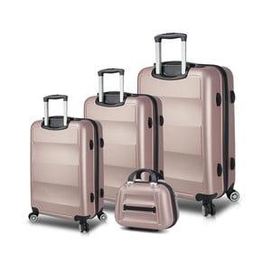 Sada 3 ružových cestovných kufrov na kolieskach s USB porty a príručného kufríka My Valice LASSO Travel Set