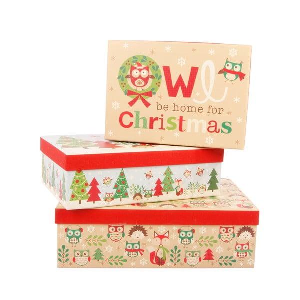 Sada 3 úložných krabíc Be Home For Christmas