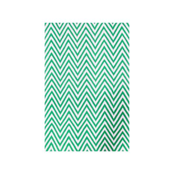 Vlnený koberec Zig Zag Green, 240x155 cm
