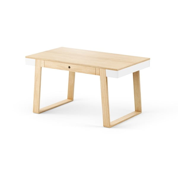 Stôl z dubového dreva s bielymi detailmi Absynth Magh, 140x80cm