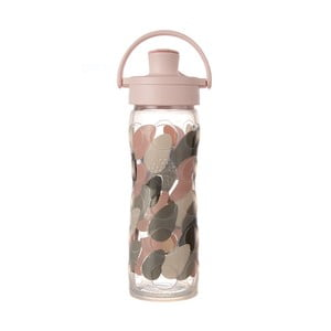 Sklenená fľaša na vodu so silikónovým chráničom Lifefactory Blush Activ Premium, 475 ml