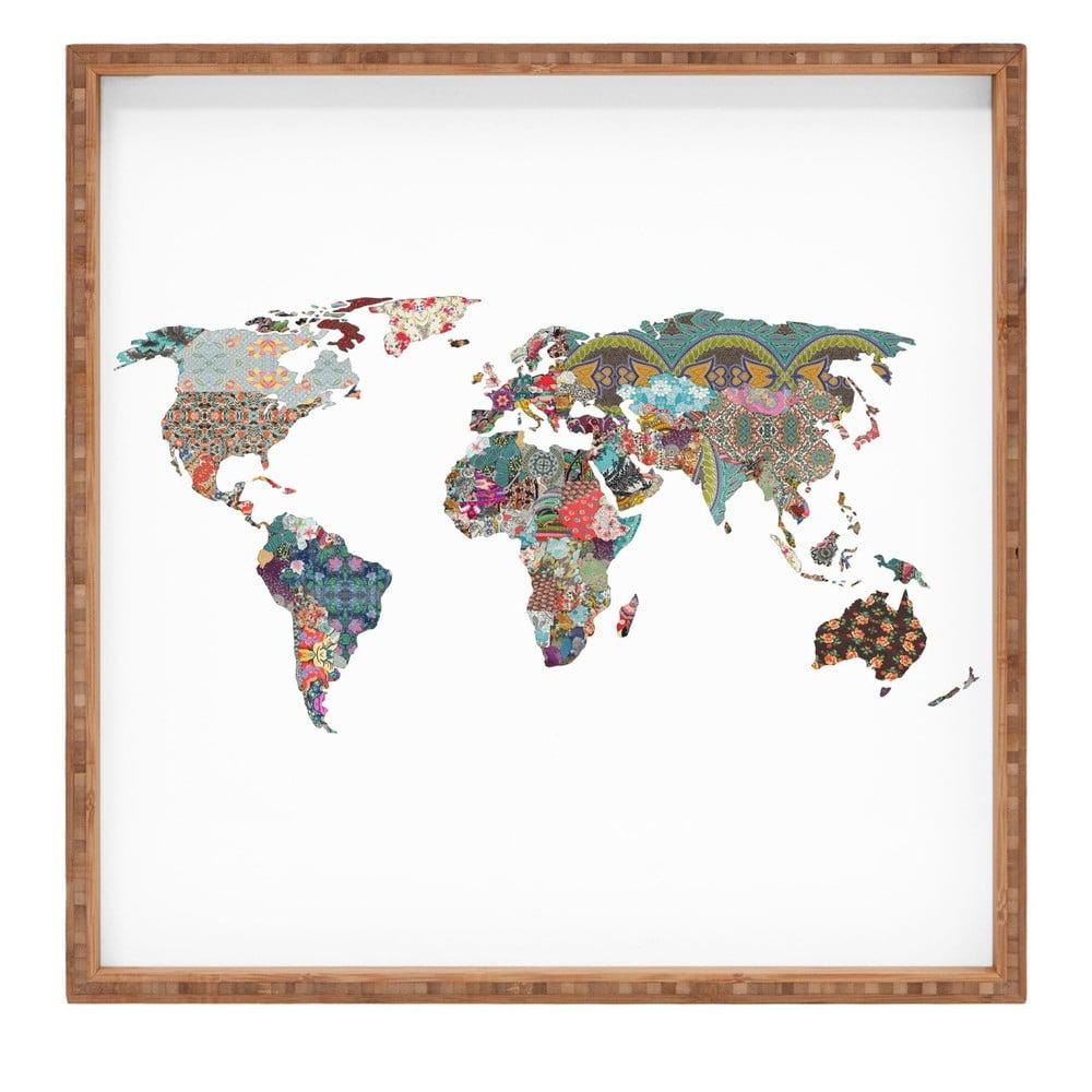 Drevený dekoratívny servírovací podnos Map, 40 × 40 cm