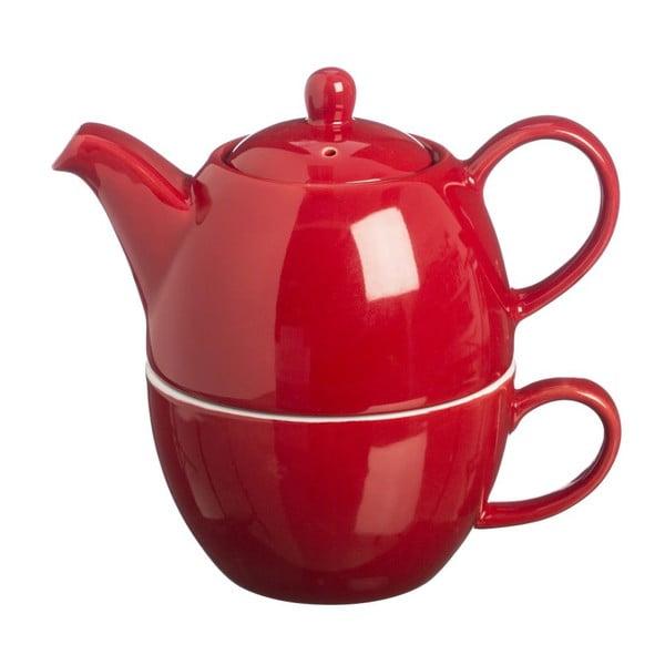 Čajová kanvica s hrnčekom čaju na jeden Bright Red, 400 ml