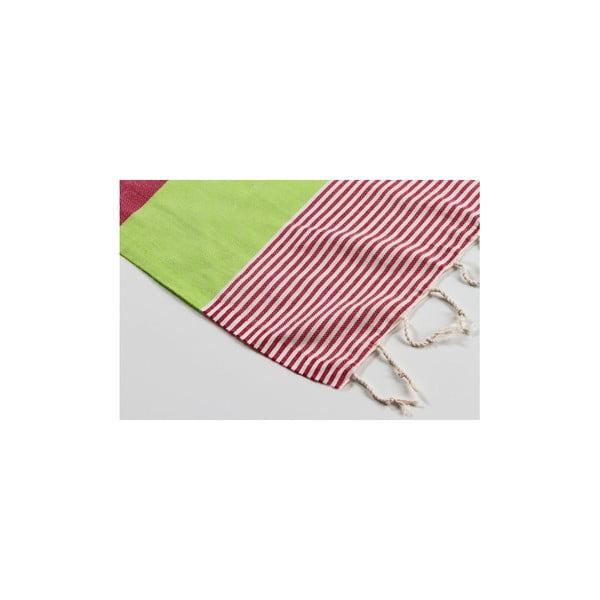 Hamam osuška Amerikan Green Red, 100x180 cm