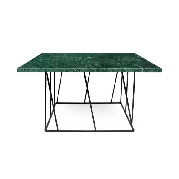 Zelený mramorový konferenčný stolík s čiernymi nohami TemaHome Helix, 75cm