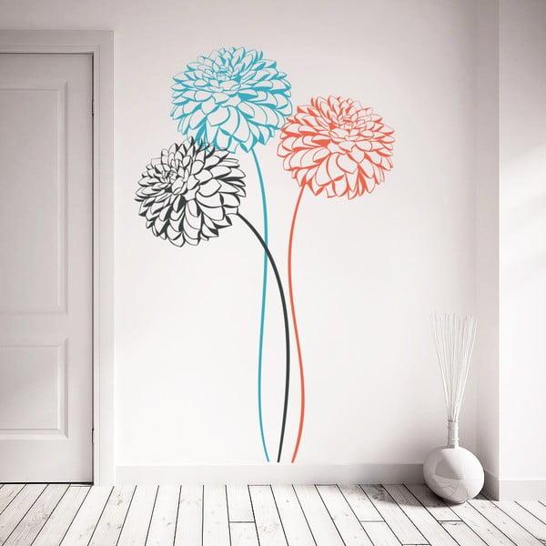 Samolepka Tri farebné kvety, 70x50 cm