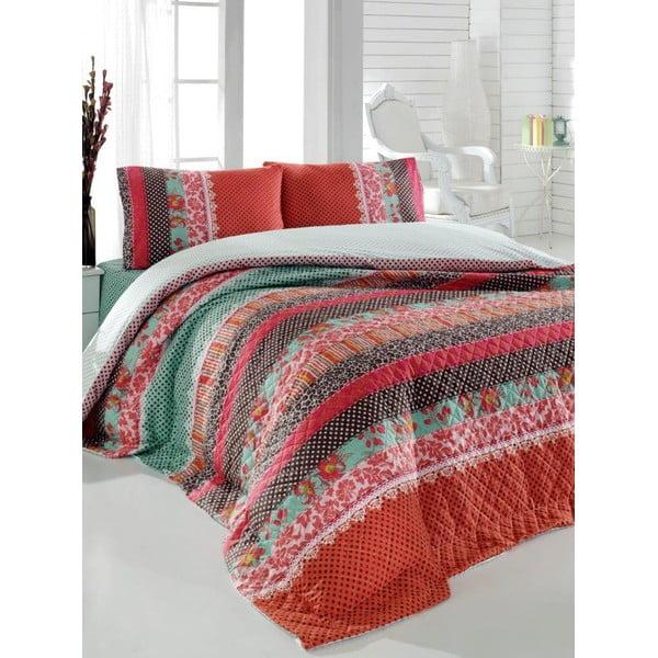 Sada prešívanej prikrývky na posteľ a dvoch vankúšov Double 211, 200x220 cm