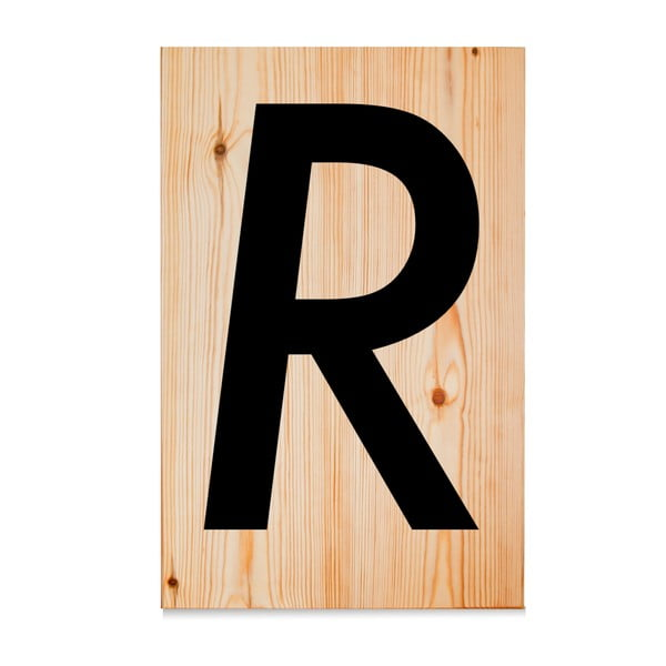Drevená ceduľa Letters R