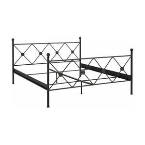 Čierna dvojlôžková posteľ Støraa Johnson, 180×200cm