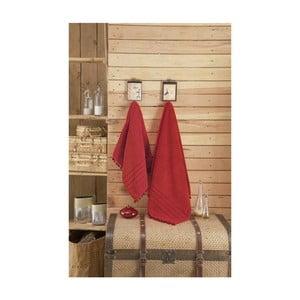 Červený uterák s ozdobným lemom Apolena, 70 x 140 cm