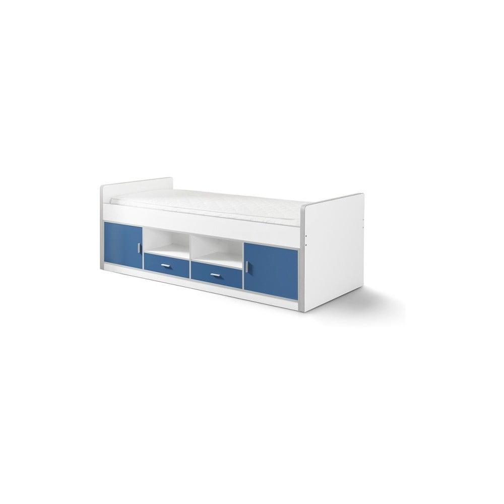 Modrá detská posteľ s úložným priestorom Vipack Bonny, 200 × 90 cm