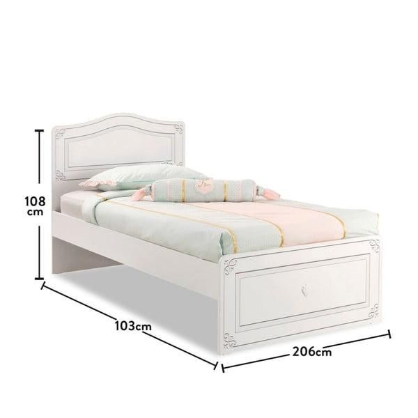 Biela jednolôžková posteľ Selena Bed, 100 × 200 cm
