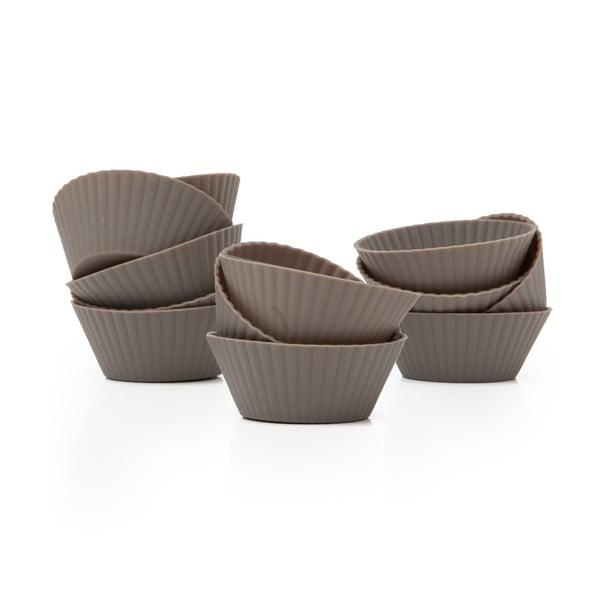 Sada 12 silikónových foriem na muffiny Mini Grey Cupcakes