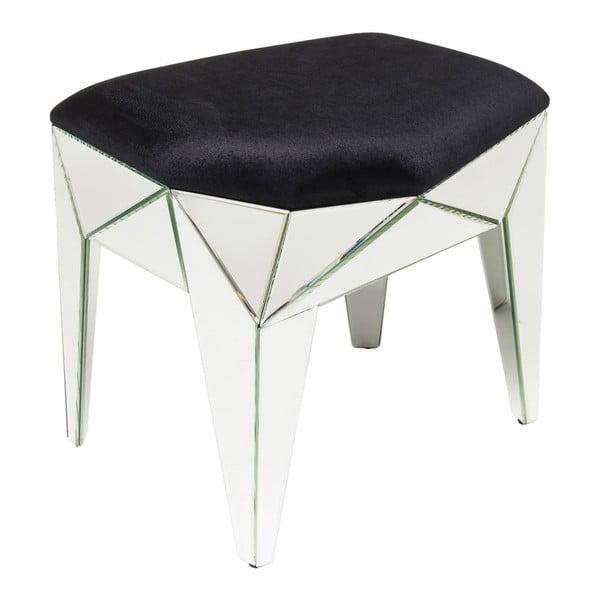Čierny stolík s detailmi v striebornej farbe Kare Design Stool Fun House, 54×49 cm