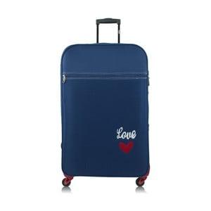 Modrý kufor na kolieskach INFINITIF Love, 30l