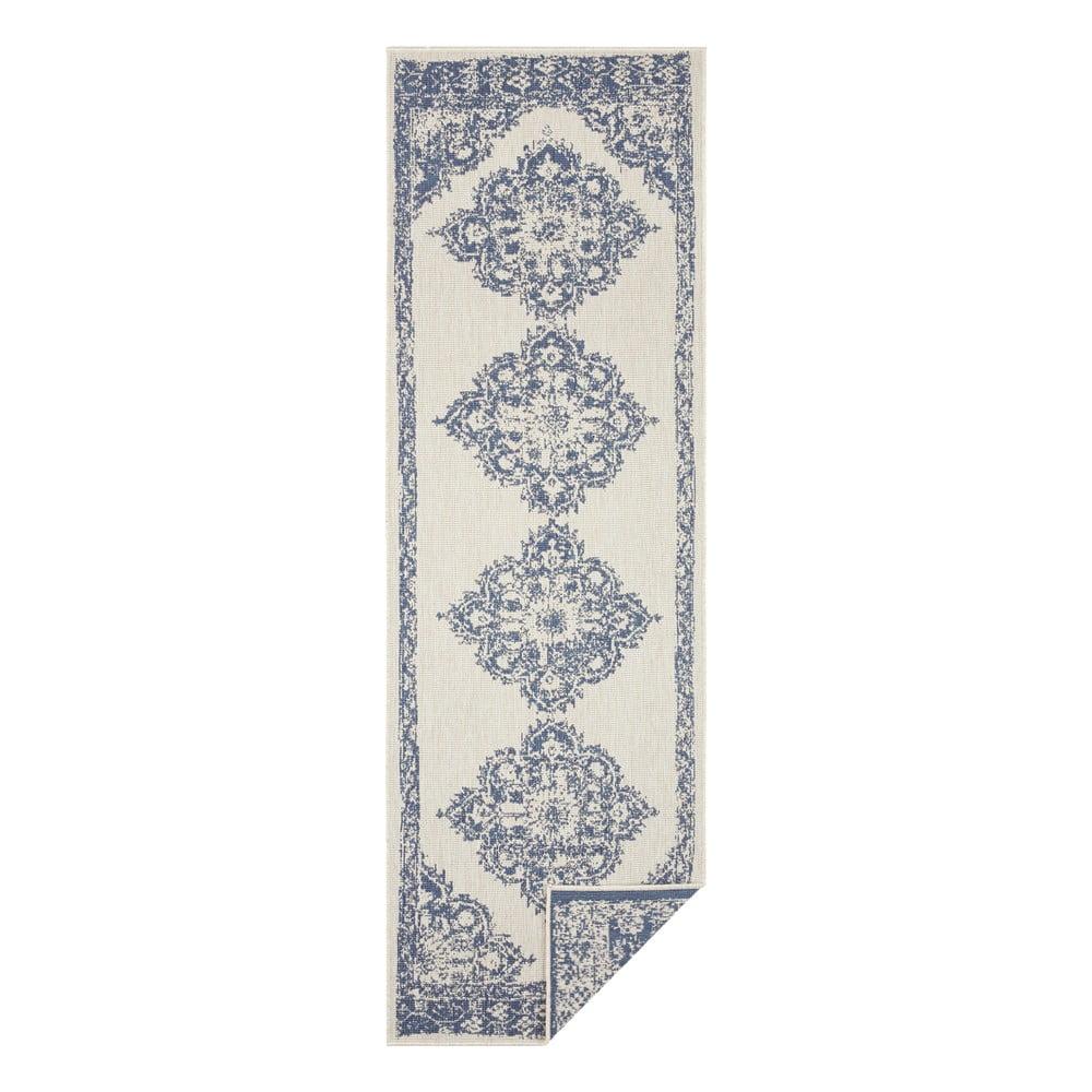 Modro-krémový vonkajší koberec Bougari Cofete, 80 x 350 cm