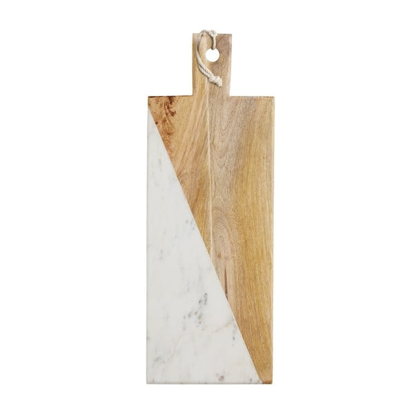 Doska z bieleho mramoru a mangového dreva Master Class, 49 cm