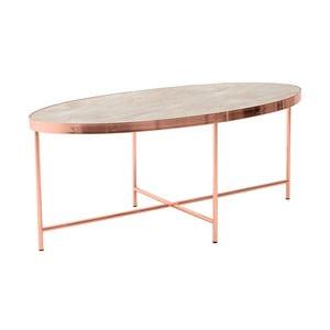 Kovový oválný odkladací stolík so sklenenou doskou InArt Marble