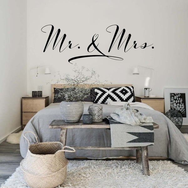 Samolepka na stenu Mr. and Mrs., 70 x 50 cm