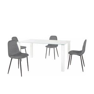 Sada jedálenského stola a 4 sivých stoličiek Støraa Dante, dĺžka stola 160 cm