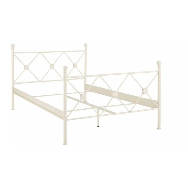 Biela kovová posteľ Støraa Johnson, 140 x 200 cm