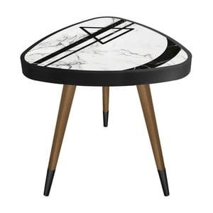 Príručný stolík Maresso Triangle Marble Black And White, 45 × 45 cm
