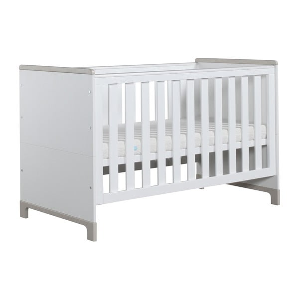Bielo-sivá variabilná detská postieľka Pinio Mini, 140×70cm