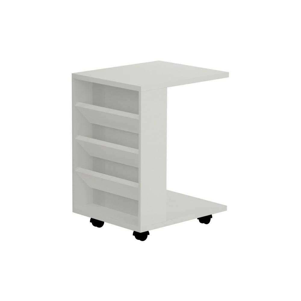 Biely príručný stolík na kolieskach Section White