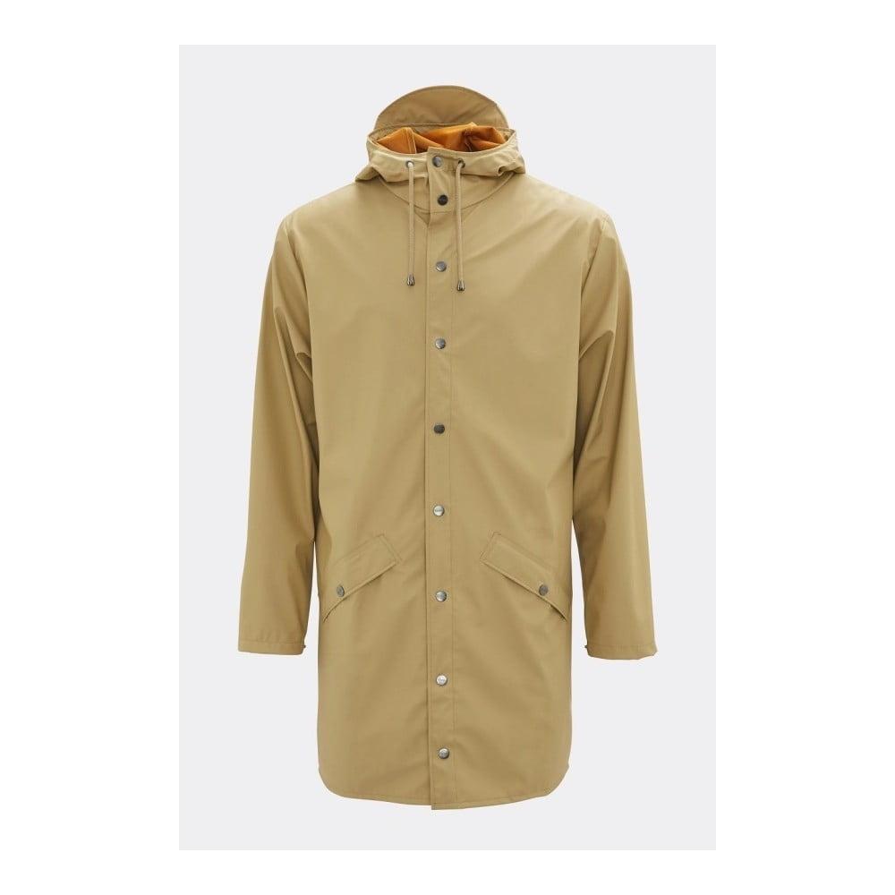 Béžová unisex bunda s vysokou vodoodolnosťou Rains Long Jacket, veľkosť XS/S