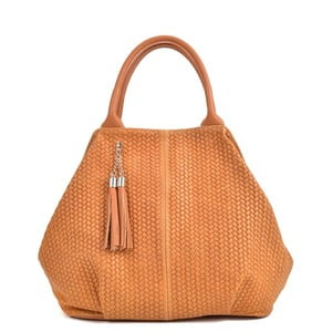 Koňakovohnedá kožená kabelka Mangotti Bags Betania