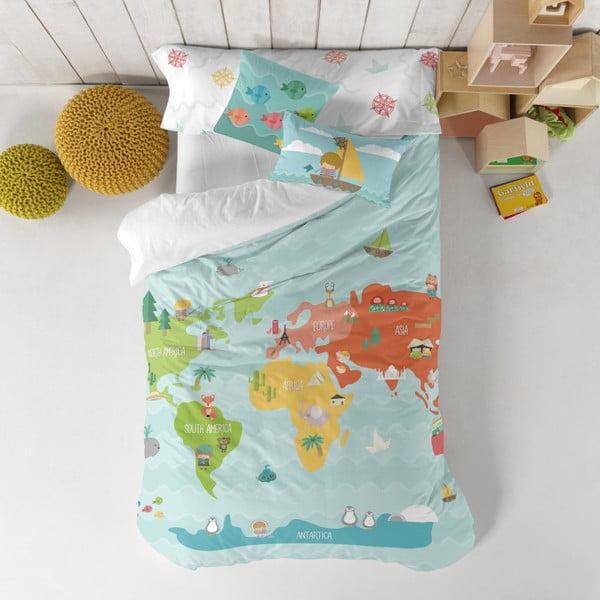 Detské obliečky z čistej bavlny Happynois World Map, 140×200 cm