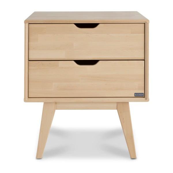 Ručne vyrobený nočný stolík s 2 zásuvkami z masívneho brezového dreva Kiteen Kolo