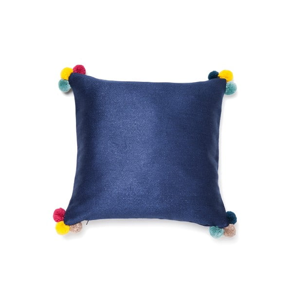 Modrý vankúš Casa Di Bassi Pom Pom, 40×40cm