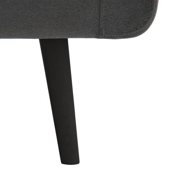 Svetlosivá trojmiestna pohovka VIVONITA Sondero, ľavá strana a čierne nohy