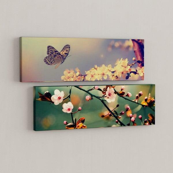 Sada 2 obrazov Motýľ s kvetmi