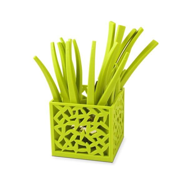 Sada 24 zelených príborov so stojanom Vialli Design